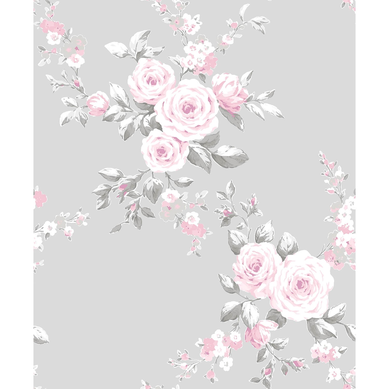 Catherine Lansfield Canterbury Floral Wallpaper Grey Pink