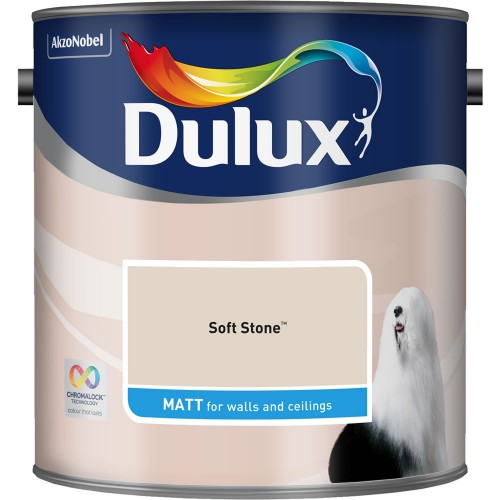 Dulux 2.5l Matt Standard Emulsion Paint, soft stone