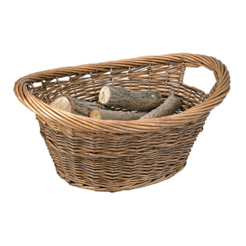 Manor Reproductions Cradle Log Basket, Brown