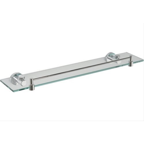 Miller Bond Clear Glass Shelf with Guard Rail Chrome Finish, 500mm