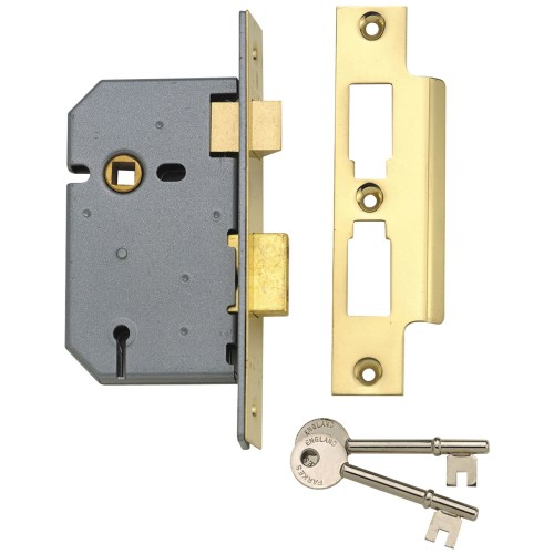 Yale 3 Lever Sash Lock 2.5'', Polished Brass