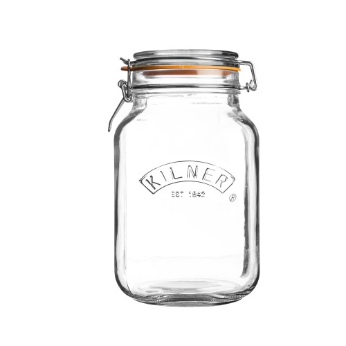 Kilner Square Cliptop Jar, 1.5 Litre