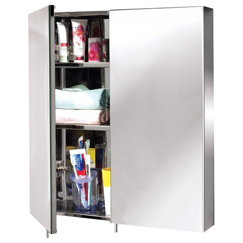 EuroShowers Double Door Mirrored Bathroom Cabinet, Stainless Steel