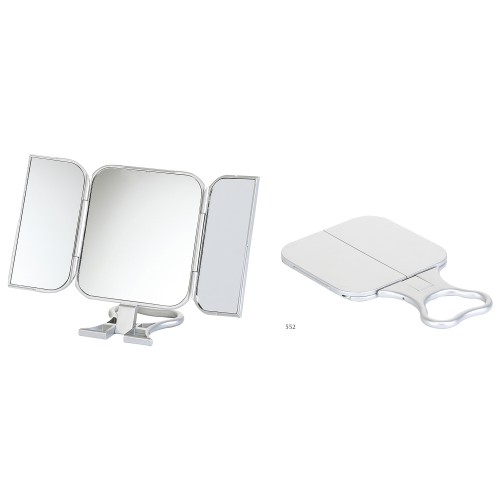 Folding Travel Mirror 23x12cm, Silver