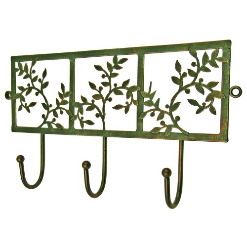 Headbourne 3 Hook Floral Antiqued Hanger