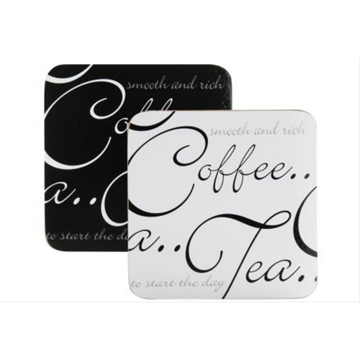 Script Set of 4 Coasters Black & White