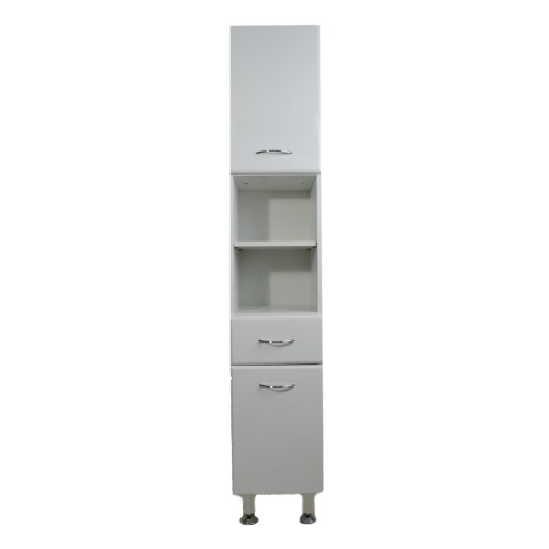 Casa Tall Bathroom Cabinet, White Gloss | Leekes