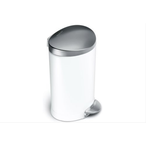 Simplehuman 6 Litre Semi Round Pedal Bin White & Stainless Steel