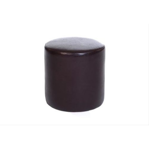 Upholstered Round Stool, Brown Faux Leather