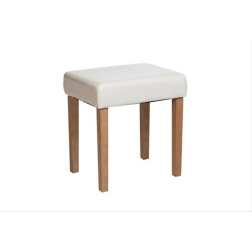 Upholstered Stool Faux Leather, Cream