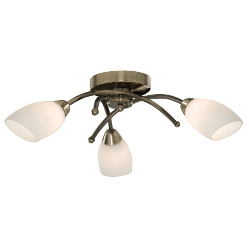 Opera 3 Light Ceiling Fitting, Antique Brass