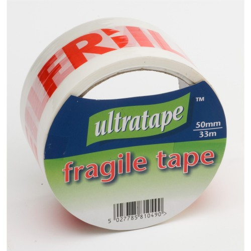 Ultratape Fragile Tape, 50mm X 33m, Red/White