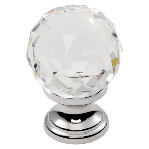 30mm Diameter Faceted Lead Crystal Contemporary Cupboard Knob, Chrome Rose