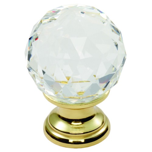 35mm Diameter Faceted Lead Crystal Traditional Cabinet Knob, Brass Rose