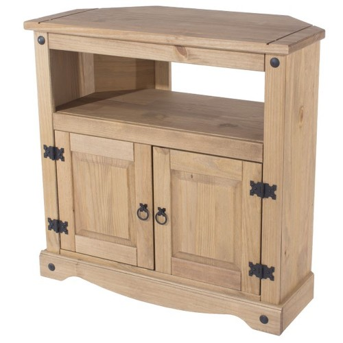 Corona Corner TV Cabinet, Waxed Pine