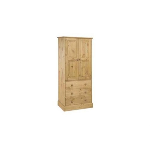 Cotswold 2 Door, 3 Drawer Wardrobe, Waxed Pine
