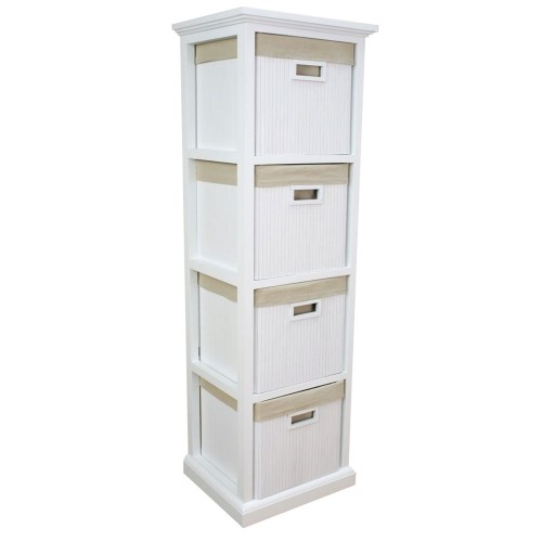 Casa 4 Drawer White Bamboo Tower Unit