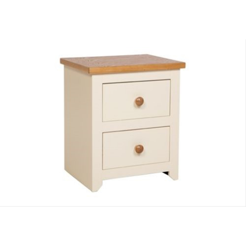 Jamestown 2 Drawer Bedside Cabinet, Cream/Mellow Oak