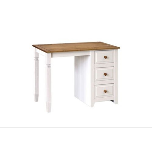 Capri Single Pedestal Dressing Table, Waxed Pine/White
