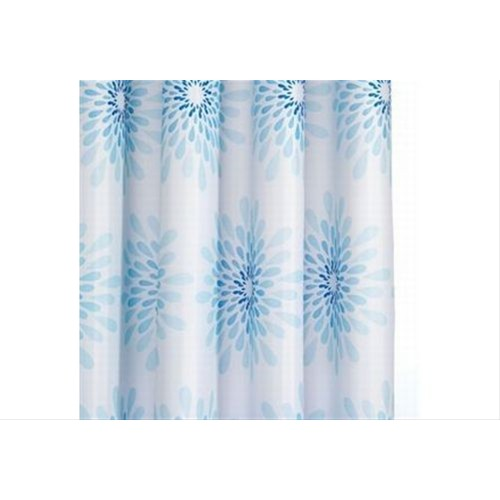 Croydex Splash Textile Shower Curtain, White and Blue Floral