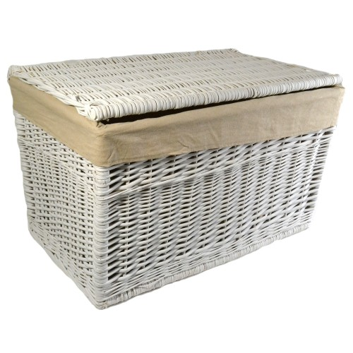 Casa Willow Large Laundry Chest, White