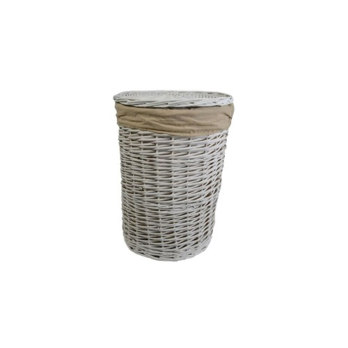 Casa Willow Round Basket Small, White
