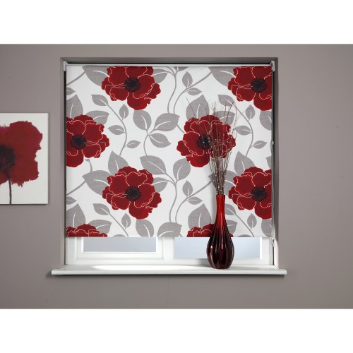 Papavero Roller Blind 60x170cm, Red/Taupe