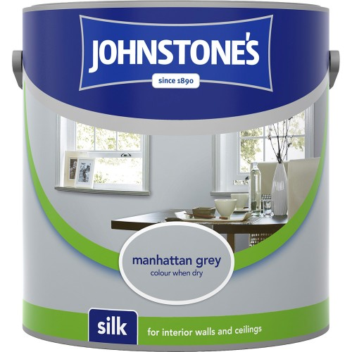 Johnstones 2.5l Silk Emulsion, Manhattan Grey