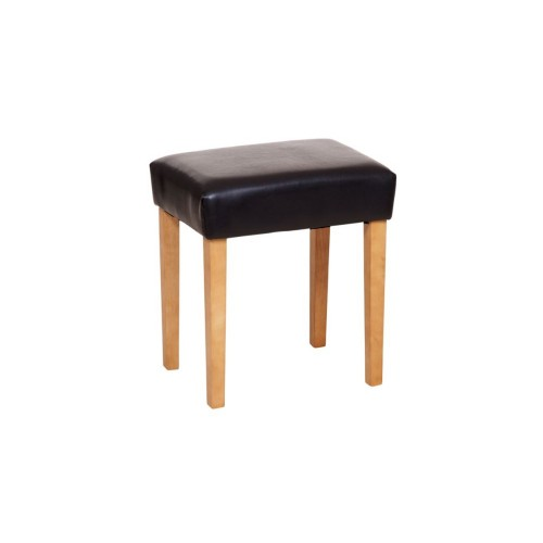 Milano Upholstered Stool, Brown Faux Leather