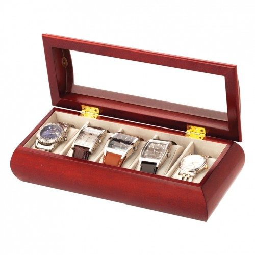 Cherry 5 Watch Box Glass Top