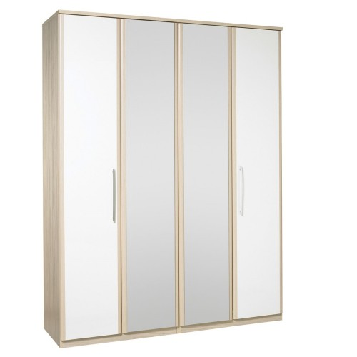 Casa Zara Tall 4 Door Hinge Wardrobe With Lights