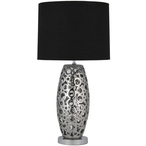 Laser Cut Table Lamp Large, Silver and Black
