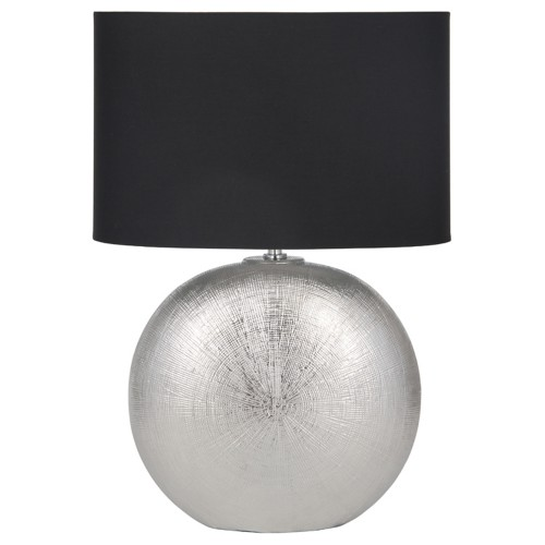 Circle Ceramic Table Lamp, Silver and Black