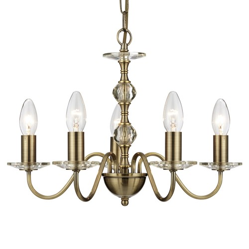 Searchlight 5 Light Ceiling Fitting, Antique Brass