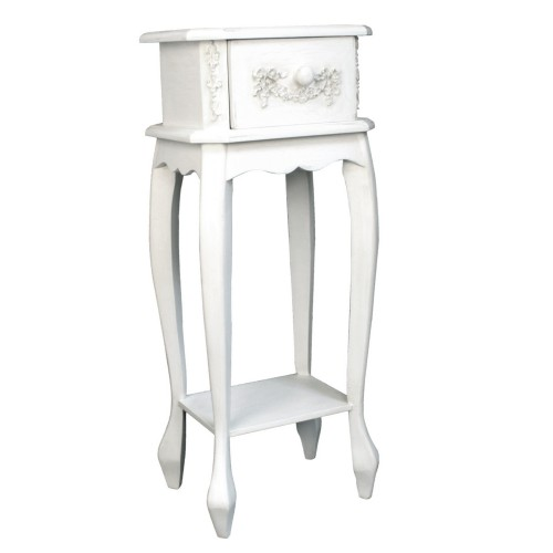 French Ivory Wooden Single Small Side Table, Cream