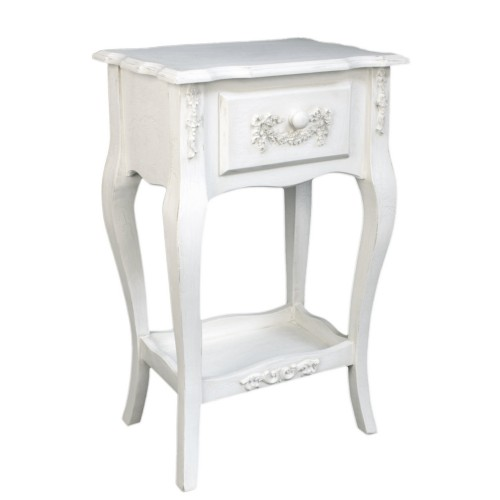 French Ivory Wooden Single Drawer Stand Medium, Cream