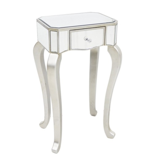 Single Drawer Mirrored Telephone Table, Champagne