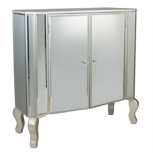 2 Drawer Large Cabinet, Mirrored Finish with Champagne Detail