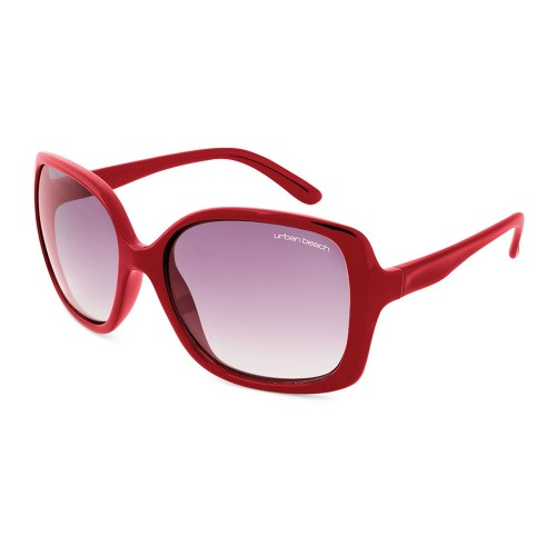 Urban Beach Ladies Large Rectangular Sunglasses, Red