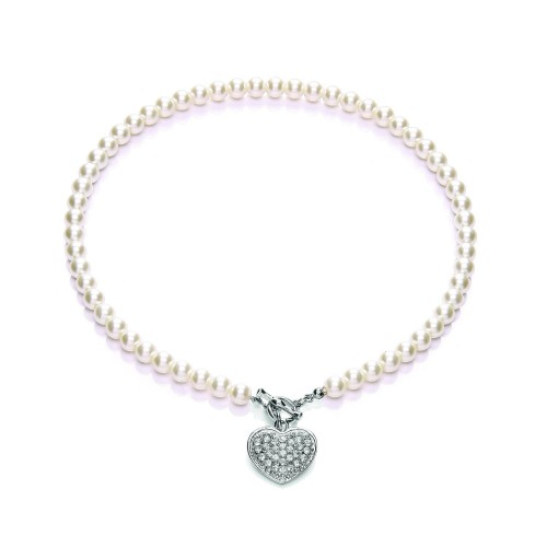 Buckley London Pearl Pave T-bar Heart N/lace, Multi