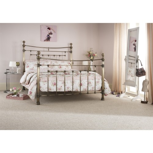 Casa Edmond Double Bed Frame, Antique Brass