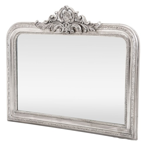 Casa Horizontal Silver Ornate Mirror, Silver