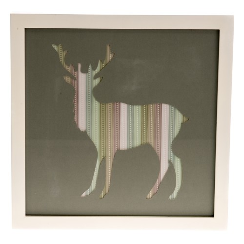 Casa Stag Framed Art, Grey,Pastel