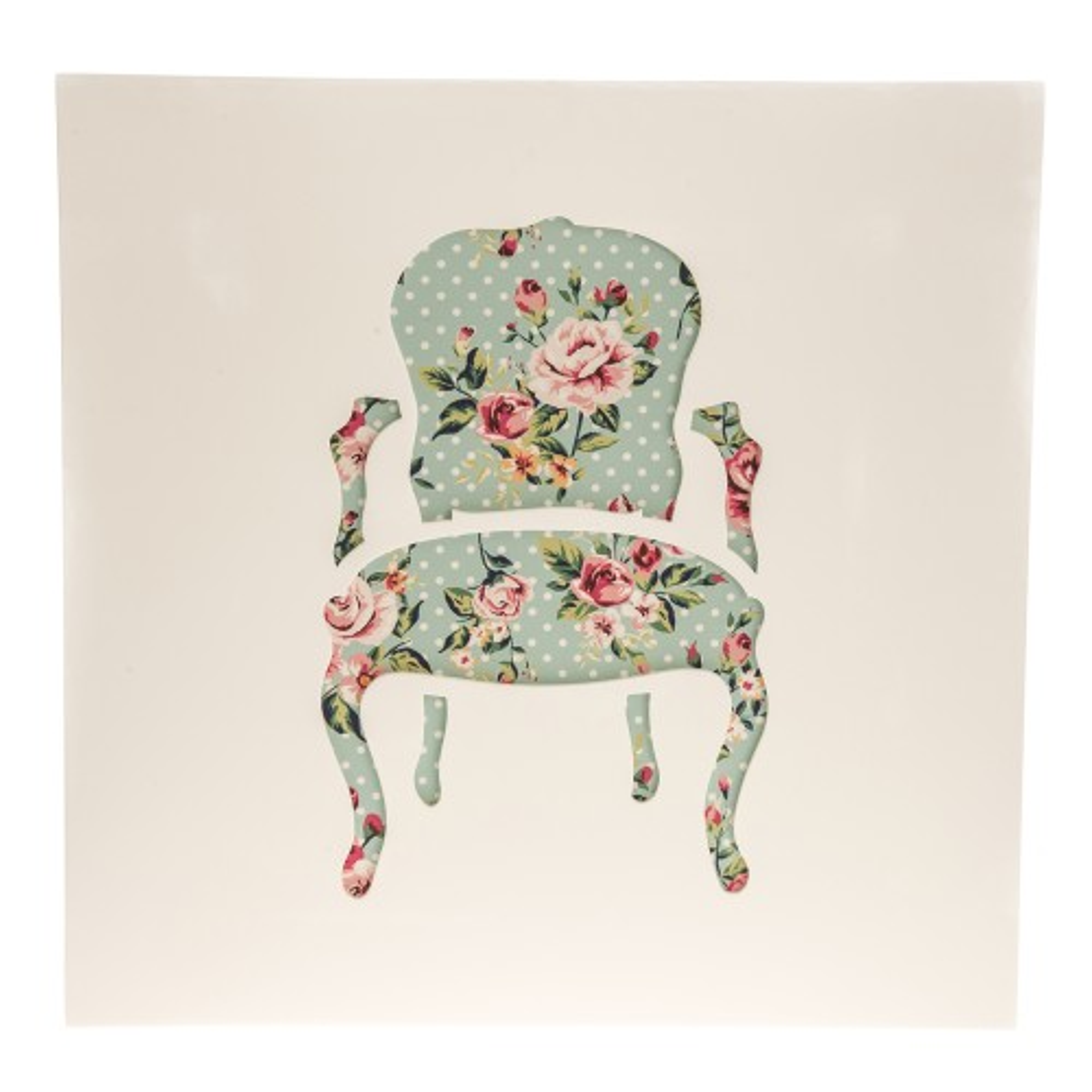 Casa Chair Decoupage Canavas,  Blue/Floral