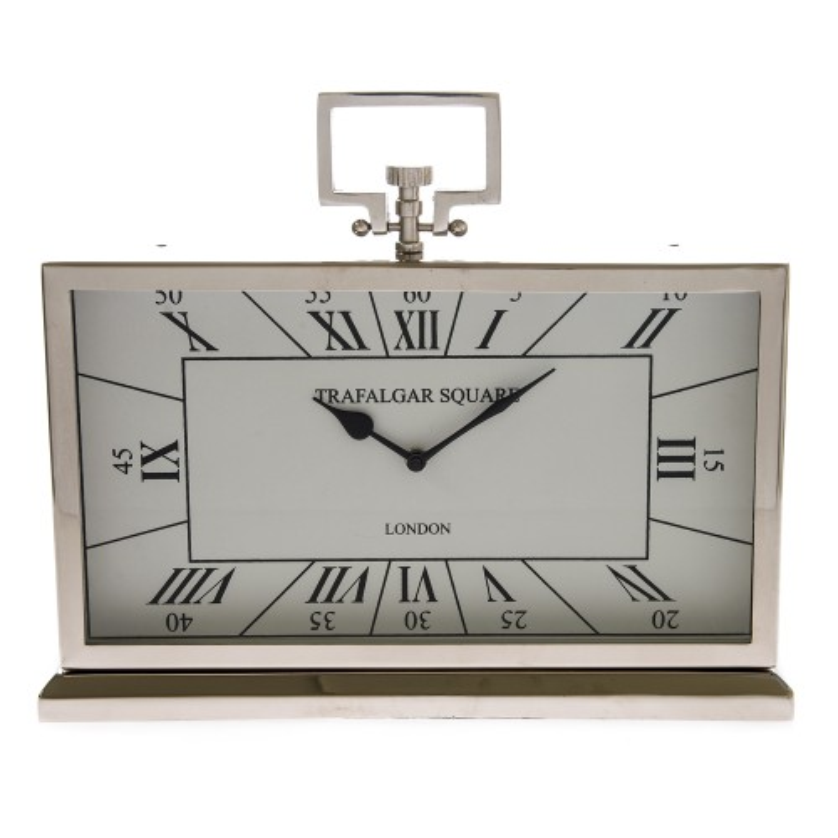Casa Trafalgar Square Table Clock, Silver