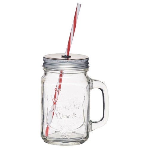 Kitchencraft Glass Drinks Jar With Straw, Glass