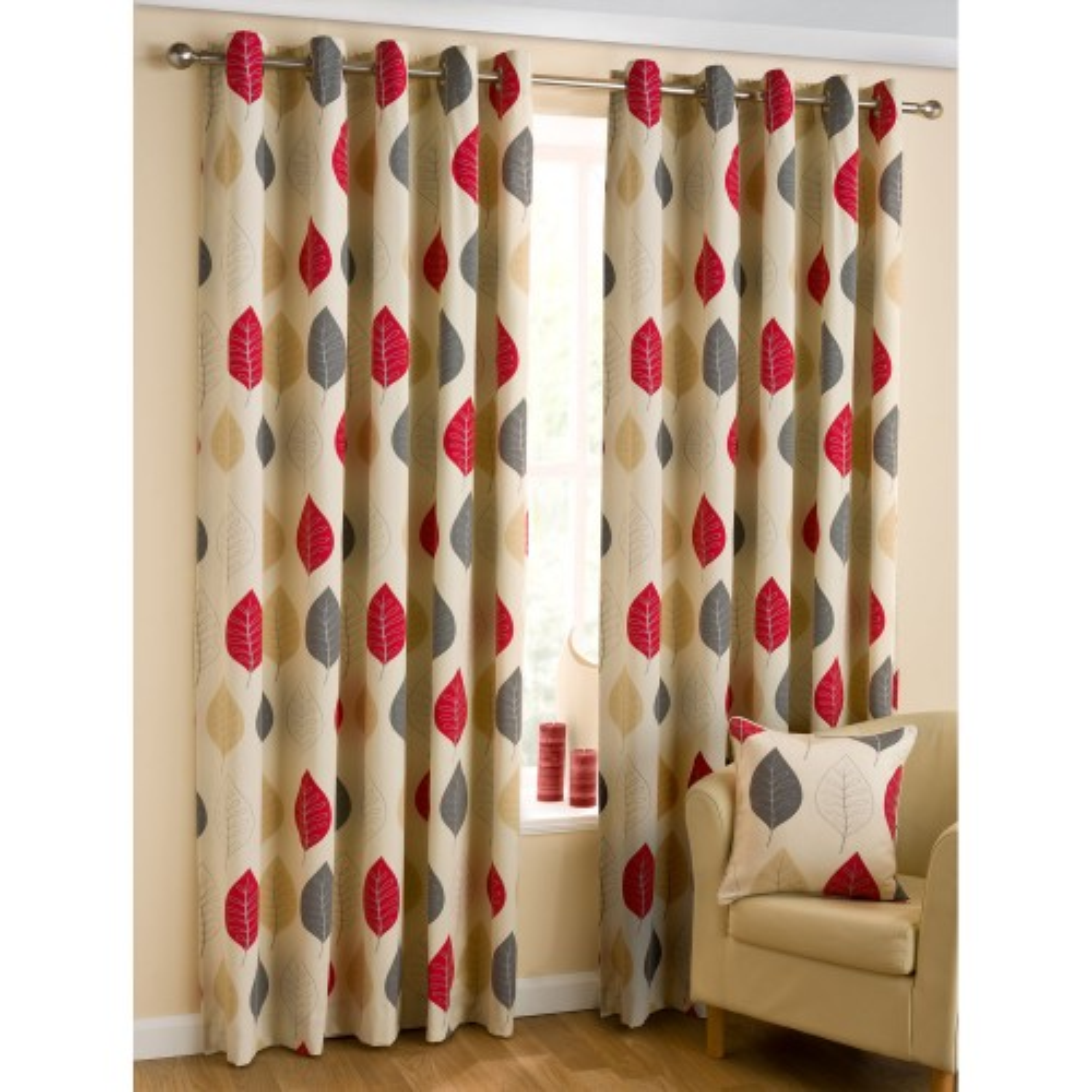 Belfield Modern Leaf Ready Made Curtain 168x183cm, Red