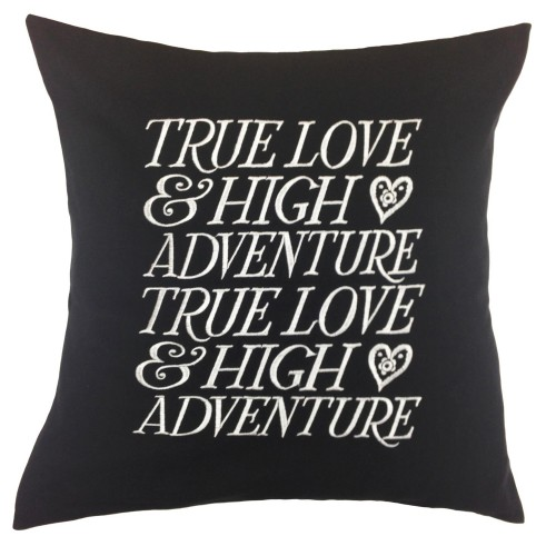 True Love Black 45x45 Cushion, Black