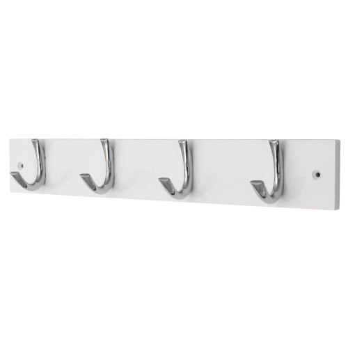 Headbourne 4 Modern Chrome Hooks on White Wooden Board Coat Rack