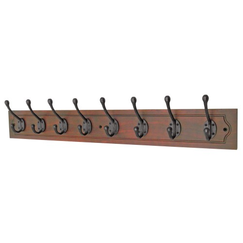 Headbourne 8 Decorative Hooks on Antiqued Jumbo Wooden Board Coat Rack Hanger